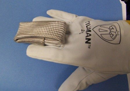 tig finger heat shield on a tillman tig glove