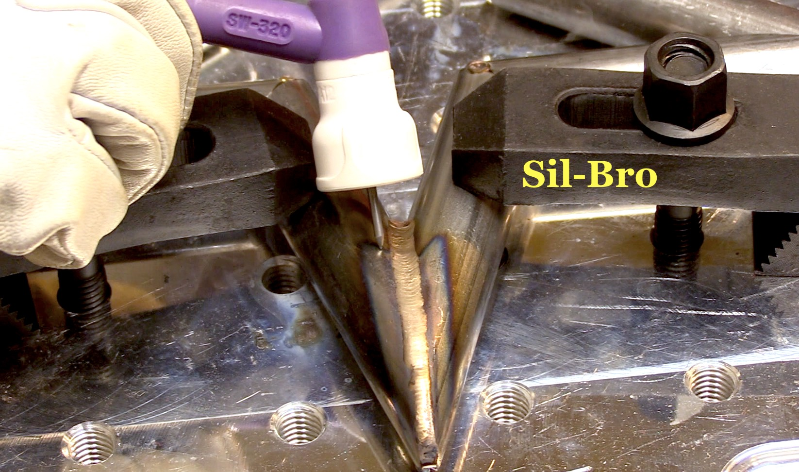 Silicon Bronze Filler Rod On Blackened Steel