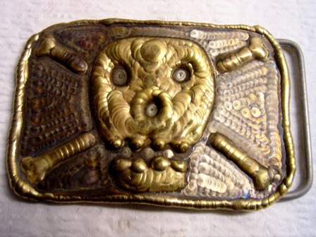 welding art skull belt buckle