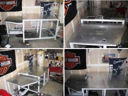 welding table with aluminum top